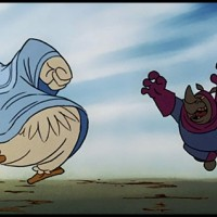 Lady Kluck acts like a Football pro against the Rhino Guards