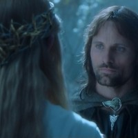 Aragorn and Arwen's talking in that wonderful place at the Elves'