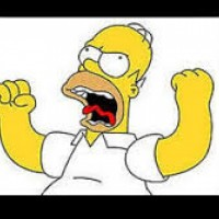 Homer Simpson yells at her until she becomes scared of him